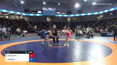 74 kg Consolation - Branson Ashworth, Wyoming Wrestling Reg Training Ctr vs Joshua Shields, Sunkist Kids Wrestling Club