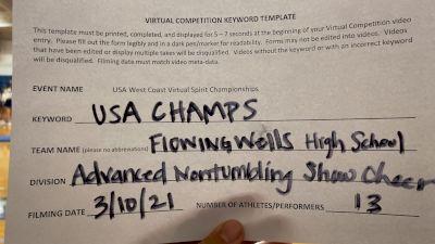 Flowing Wells High School [Varsity Show Cheer Non-Tumbling Advanced] 2021 USA Virtual West Coast Spirit Championships