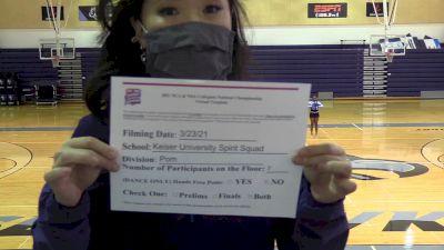 Keiser University [College Pom Virtual Prelims] 2021 NCA & NDA Collegiate Cheer & Dance Championship