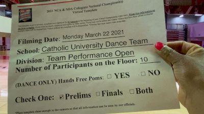 Catholic University of America [Virtual Team Performance Open Prelims] 2021 NCA & NDA Collegiate Cheer & Dance Championship