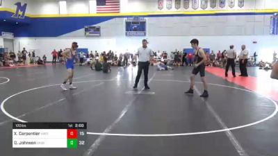 120 lbs 7th Place - Xavier Carpentier, Ares Wrestling Club vs Dawson Johnson, Crass Trained