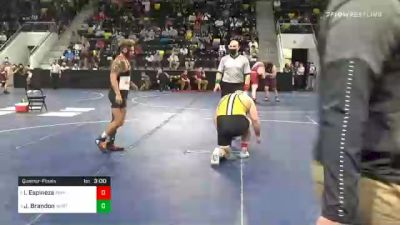 285 lbs Quarterfinal - Isaiah Espinoza, Adrian College vs Jordon Brandon, Wartburg College