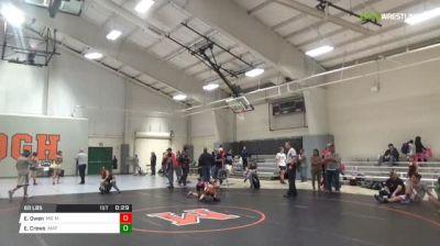 60 lbs 3rd place - Evan Owen, MD Maniacs vs Elliott Crews, Mat Pack Wrestling Club