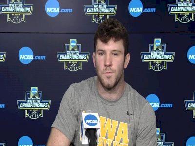 Jaydin Eierman (Iowa) after 141-pound semifinal win at 2021 NCAA Championships