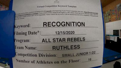 All Star Rebels - Ruthless [L1 Junior - D2 - Small] 2020 America's Best Virtual National Championship