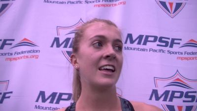 Katie Rainsberger after winning MPSF mile