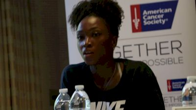 Tianna Bartoletta says the hardest part of competing in heat is adjusting warmup
