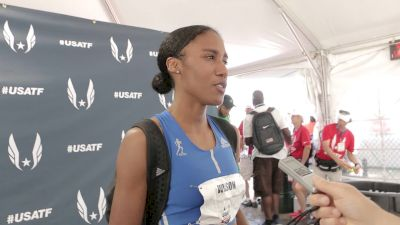 Ajee Wilson after winning the 800m in a blazing 1:57