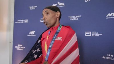 Meb Keflezighi emotional after his last marathon of his career in New York