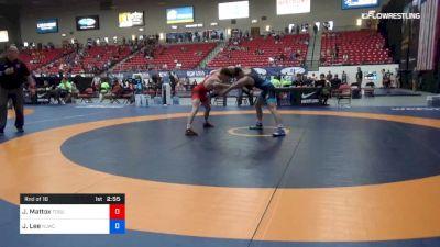 74 kg Rnd Of 16 - Jaden Mattox, Ohio State-Unattached vs Joe Lee, NLWC