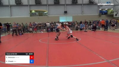 70 kg Consi Of 64 #2 - Sam Webster, New York City Regional Training Center vs Evan Cheek, Cleveland State University
