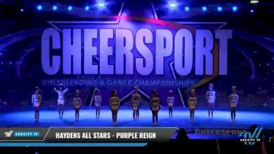 Haydens All Stars - Purple Reign [2021 L1 Junior - D2 - Small - B Day 1] 2021 CHEERSPORT National Cheerleading Championship