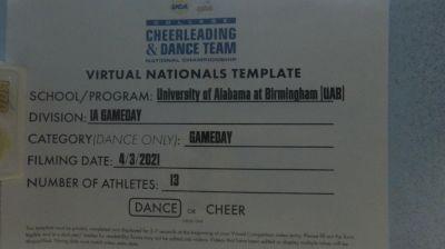 University of Alabama-Birmingham [Virtual Division IA Dance Game Day Finals] 2021 UCA & UDA College Cheerleading & Dance Team National Championship