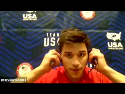 Yianni Diakomihalis after his quarterfinal win at the 2021 Olympic Trials