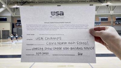 Clovis North High School [Varsity Show Cheer Non Building Novice] 2021 USA Virtual West Coast Spirit Championships