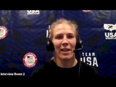 Alyssa Lampe (50 kg) after true third match at 2021 Olympic Trials