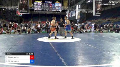 220 lbs Cons 16 #2 - Cody Pinkerton, Wyoming vs Cabe Dickerson, Oklahoma