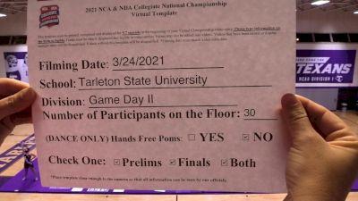 Tarleton State University [Virtual Game Day Division II Prelims] 2021 NCA & NDA Collegiate Cheer & Dance Championship