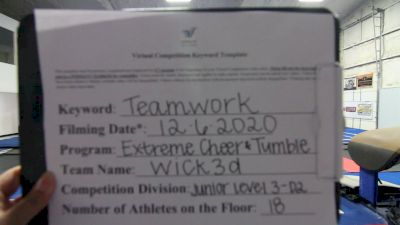 Extreme Cheer & Tumble - Wick3d [Level 3 L3 Junior - D2 - Small - B] Varsity All Star Virtual Competition Series: Event VII