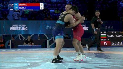 97 kg 1/8 Final - Kiril Milov, Bulgaria vs Jewoo Park, South Korea
