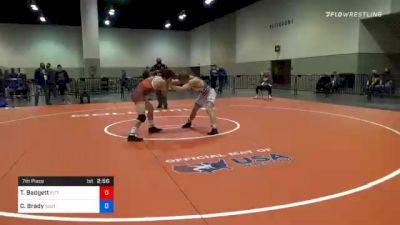 70 kg 7th Place - Tyler Badgett, Pittsburgh Wrestling Club vs Connor Brady, Southeast RTC, Inc