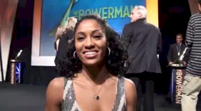 Queen Harrison after winning the 2010 Bowerman