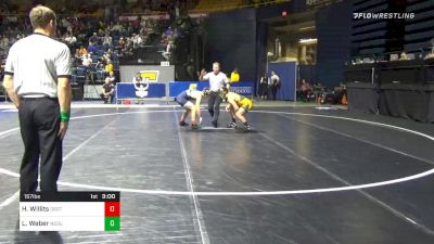 157 lbs 5th Place - Hunter Willits, Oregon St. vs Luke Weber, North Dakota State