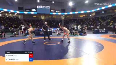 74 kg Quarterfinal - Jared Franek, Bison Wrestling Club vs Joey Lavallee, TMWC/ LVWC
