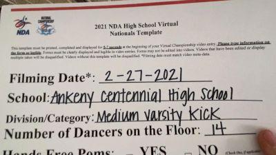 Ankeny Centennial High School [Large Varsity - Kick Virtual Prelims] 2021 NDA High School National Championship