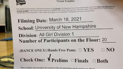 University of New Hampshire [Virtual Advanced All-Girl Division I Prelims] 2021 NCA & NDA Collegiate Cheer & Dance Championship