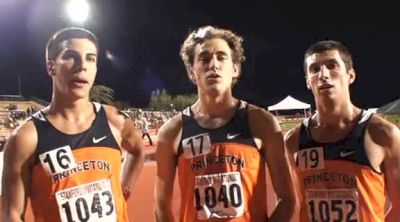 Donn Cabral, Mark Amirault, and Kyle Soloff of Princeton after the 5k at the 2011 Stanford Invitational
