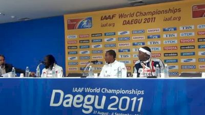 Men's Triple Jump Press Conference with Christian Taylor, Will Claye and Phillips Idouw at Daegu World Champs
