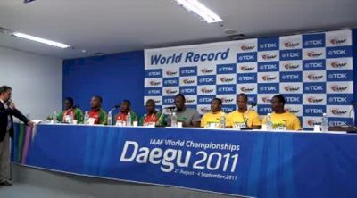 Usain Bolt Press Conference with World Record setting 4x100 Medalist Daegu 2011 World Championships