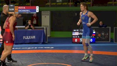 62 kg Mallory Velte, USA vs Liubov Ovcharova, RUS