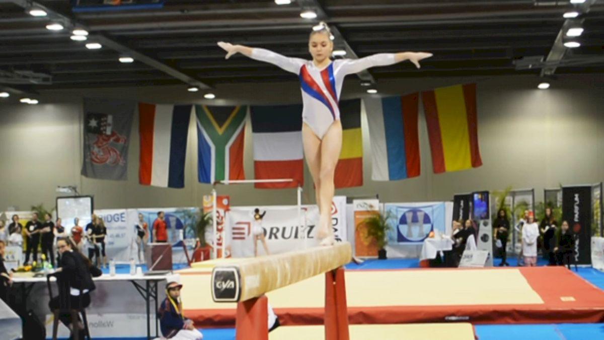 Uliana Perebinosova Russian junior Gymnix preview.