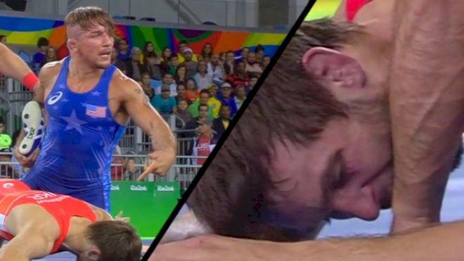 Frank Molinaro Bit During Olympic Wrestling Match