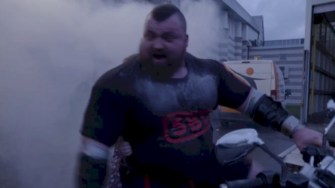 Eddie Hall Peels Out On A Motorcycle After Winning Britain's Strongest Man
