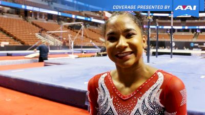 Jordan Chiles On Competing With A Fever & NEW Lopez Vault She Hopes To Do At Worlds - 2017 P&G Championships Women Day 2