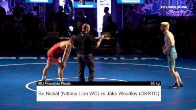 92 kg 1 Of 3 - Bo Nickal, Nittany Lion Wrestling Club vs Jakob Woodley, Oklahoma full