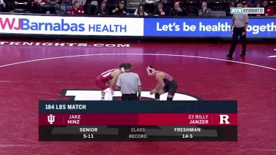 184 lbs: Jake Hinz, Indiana vs Billy Janzer, Rutgers