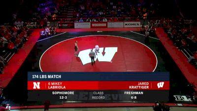 174lbs Match: Mikey Labriola, Nebraska vs Jared Krattiger, Wisconsin