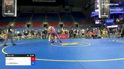 182 lbs Cons Semis - Kalyn Jahn, Wisconsin vs Josh Labarbera, Illinois