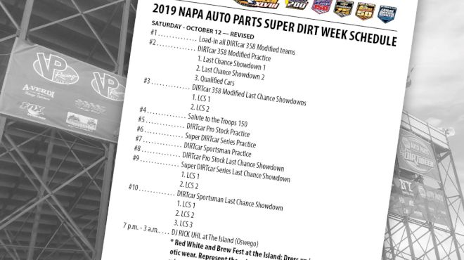 Schedule & Lineups Set For Final Day Of Super DIRT Week