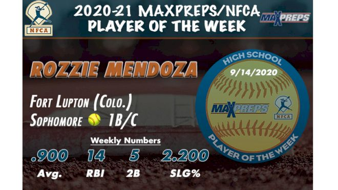 Rozzie Mendoza Named MaxPreps/NFCA High School Player Of The Week