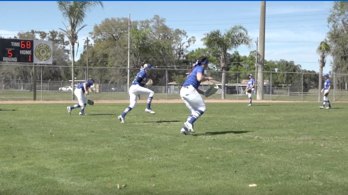 Notre Dame College Outfield Warm Up