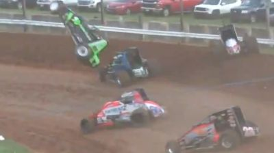 CJ Leary Heat Race Flip | USAC Sprints at Bloomington Speedway