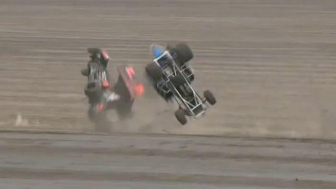 Wild Double Lucas Oil ASCS Heat Race Flip at Park Jefferson