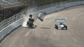 Mike Bruce Hard 350 Supermodified Crash At Oswego