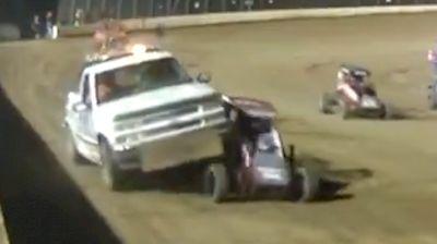 Push Truck Runs Over Brett Becker's POWRi Midget