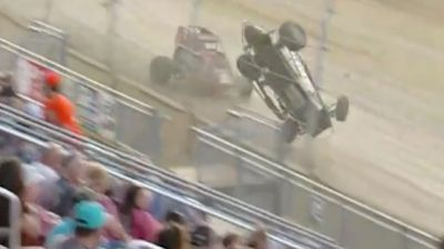 Hayden Reinbold Big Frontstretch Crash at Lawrenceburg